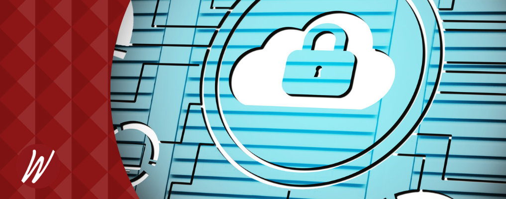 Cloud with lock, secure icon